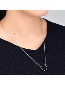 Fashion Silver Color Irregular Shape Decorated Pure Color Design Simple Choker