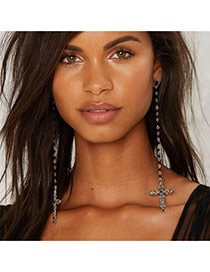 Fashion Silver Color Cross Pendant Decorated Pure Color Long Earrings