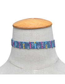 Fashion Light Blue Painting Flower Pattern Decorated Color Matching Choker