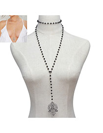 Fashion Black Hollow Out Flower Pendant Decorated Double Layer Necklace