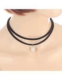 Fashion Black Pearl Pendant Decorated Double Layer Simple Choker
