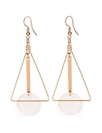 Fashion Gold Color Triangle Shape Pendant Decorated Tassel Earring