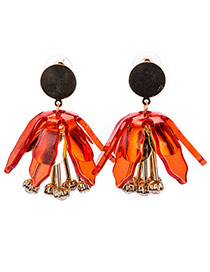 Elegant Red Flower Shape Pendant Decorated Pure Color Earring