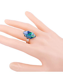 Exaggerated Silver Color Irregular Gemstone Decorated Simple Ring