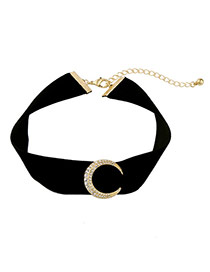 Elegant Black Moon Shape Decorated Pure Color Chocker