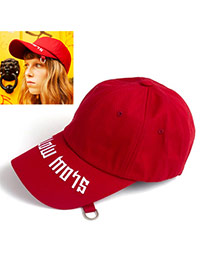 Fashion Claret-red Letter Shape Embroidery Decorated Simple Hat