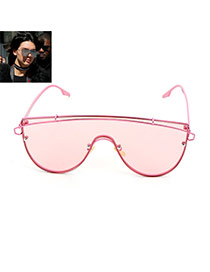 Fashion Pink Metal Strip Decorated Simple Sunglasses