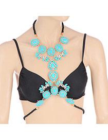 Elegant Blue Waterdrop Flower Shape Decorated Simple Symmetry Body Chain