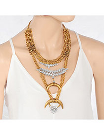 Retro Gold Color Moon Shape Decorated Multilayer Necklace