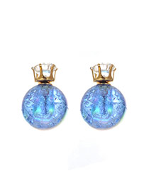 Sweet Dark Blue Ball Shape Decorated Pure Color Earring