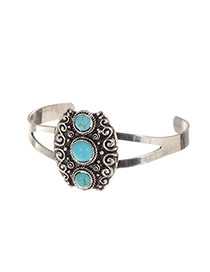 Retro Silver Color Three Gemstone Decorated Opening Ring