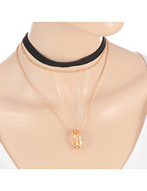 Elegant Gold Color Hollow Out Round Pendant Decorated Multilayer Chocker