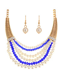 Exaggerated Royalblue Multilayer Pearl Decorated Short Chain Jewelry Sets