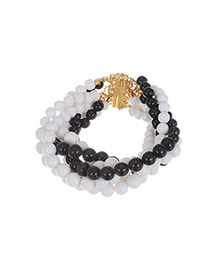 Sweet White+black Beads Weaving Decorated Color Matching Bracelet