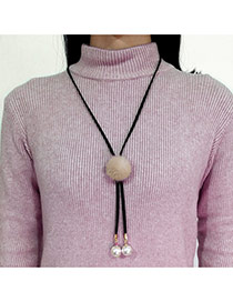Fashion Khaki Fuzzy Ball Decorated Simple Long Chain Necklace