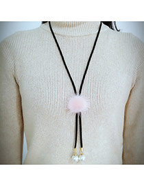 Fashion Pink Fuzzy Ball Decorated Simple Long Chain Necklace