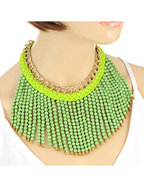 Bohemia Green Beads Weaving Tassel Pendant Decorated Double Layer Necklace