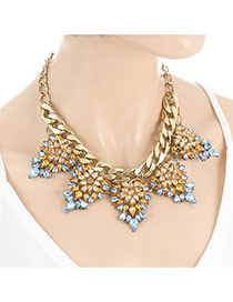 Elegant Gold Color Geometric Diamond Pendant Decorated Double Layer Necklace