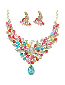 Luxury Multi-color Peacock Tail Shape Pendant Decorated Simple Jewelry Sets