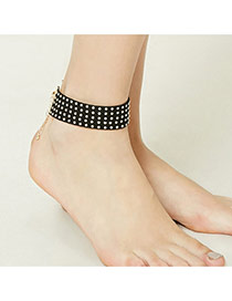 Retro Black Round Rivet Shape Decorated Pure Color Anklet