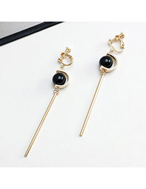 Elegant Black Round Shape Diamond Decorated Asymmetric Design Simple Earrings