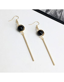 Elegant Black Pearls Decorated Vertical Shape Design Simple Earrings