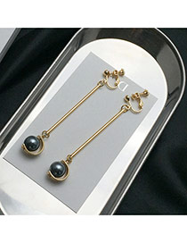 Elegant Gray Pearls Pendant Decorated Symmetric Design Earrings