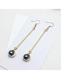 Elegant Dark Gray Pearls Pendant Decorated Symmetric Design Earrings
