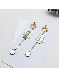 Elegant Gold Color Round Shape Pendant Decorated Hollow Out Triangle Shape Earrings