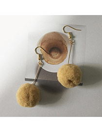Elegant Light Coffee Fuzzy Ball Pendant Decorated Pure Color Simple Earrings