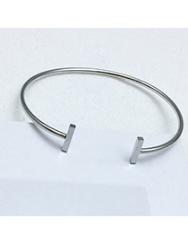Sweet Silver Color Pure Color Decorated Opening Design Bracelet