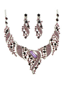 Luxury Purple Hollow Out Wave Shape Decorated Simple Jewlery Sets