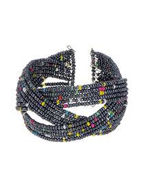 Fashion Black Beads Weaving Decorated Color Matching Opening Bracelet