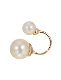 Fashion White Doble Pearl Decorated Opening Ring