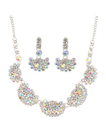 Luxury Multi-color Diamond Fan Shape Decorated Short Chain Jewelry Sets
