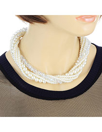 Eleagnt White Pearl Weaving Decorated Multilayer Chocker