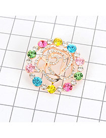 Luxury Multi-color Diamond Decorated Hollow Out Rose Flower Shape Brooch