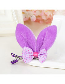 Lovely Purple Bowknot Decorated Rabbit Ears Shape Color Matching Simple Hair Clip