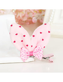 Lovely Pink Dot Decorated Rabbit Ears Shape Color Matching Simple Hair Clip