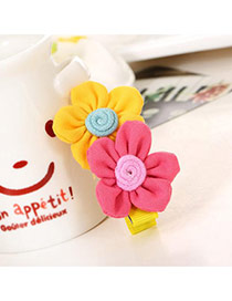 Fashion Pink+yellow Flowers Decorated Color Matching Design Simple Hair Clip