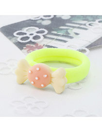 Fashion Yellow Candy Shape Decorated Color Matching Design Hair Rope