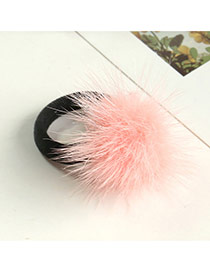 Fashion Pink Fuzzy Ball Decorated Pure Color Design Simple Hair Rope