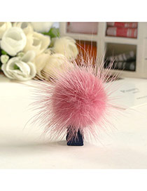 Fashion Pink Fuzzy Ball Decorated Pure Color Design Simple Hair Clip