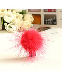 Fashion Plum Red Fuzzy Ball Decorated Pure Color Design Simple Hair Clip