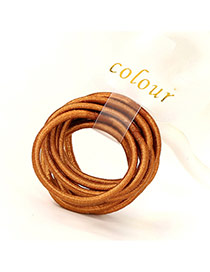 Fashion Coffee Pure Color Decorated Simple Hair Band (10pcs)