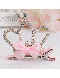 Fashion Pink Crown Decorated Bowknot Design Simple Hair Clip