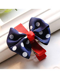 Fashion Navy Dot Decorated Bowknot Design Simple Hair Clip