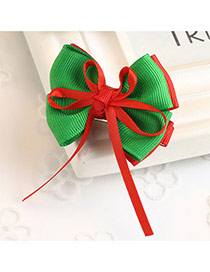 Fashion Green Color Matching Decorated Bowknot Design Hair Clip