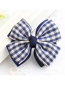 Fashion Navy Grid Pattern Decorated Bowknot Design Simple Hair Clip