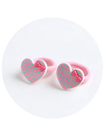 Sweet Pink Heart Shape Decorated Pure Color Hair Band(2pcs)